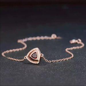 ❤️ Red Garnet & Silver Bracelet 101170